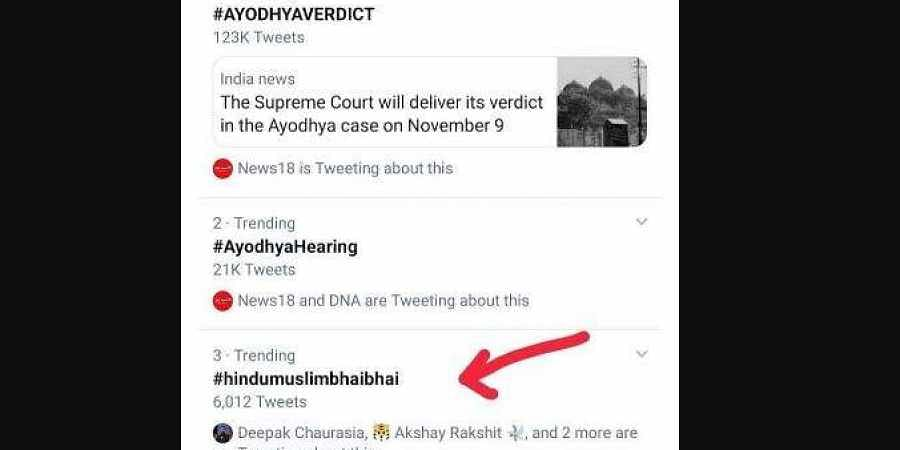 Screengrab of Twitter trends.