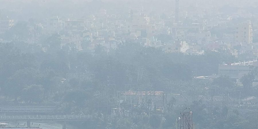 Vijayawada view obscured by a blanket of smog on Friday.
