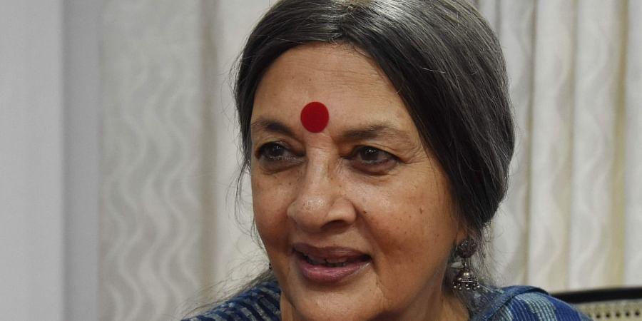 Andhra Pradesh CPM politburo member Brinda Karat during a press conference in Vijayawada on Friday. (Photo | EPS, P Ravindra Babu)