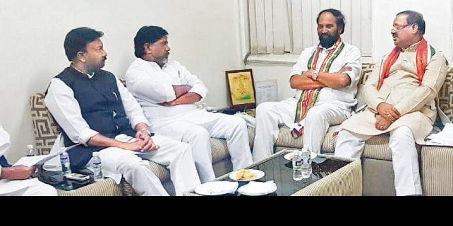 TPCC chief Uttam Kumar Reddy speaks during the party's core committee meeting in Hyderabad on Saturday.