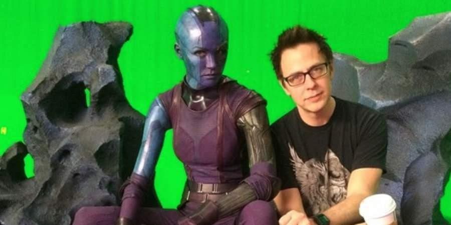 Karen Gillan as Nebula in the 'Guardians of the Galaxy' series with director, James Gunn