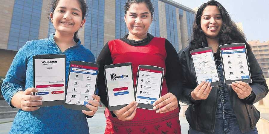 (From left) Paridhi Lohani, Rupal Jani and Tanya Budhiraja, the brains behind the 'Bware' app