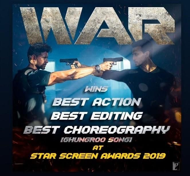 'War' was awarded the 'Best Action', 'Best Editing' and 'Best Choreography' for the song 'Ghungroo'.