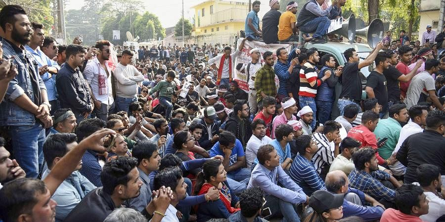 Demonstrators raise slogans during a strike called by All Assam Students Union AASU and the North East Students Organisation NESO in protest against the Citizenship Amendment Bill in Guwahati Tuesday Dec. 10 2019. (Photo | PTI)