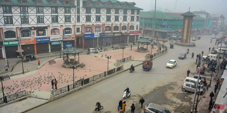 A view of deserted street and closed market during a strike called by Hurriyat Conference Chairman Syed Ali Shah Geelani on the occasion of 'World Human Rights Day' in Srinagar Tuesday Dec 10 2019. (Photo | PTI)