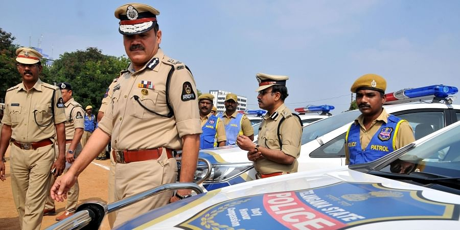 Hyderabad Police Commissioner Anjani Kumar inspected police patrol Vehicles at Nizam College ground in Hyderabad on Saturday