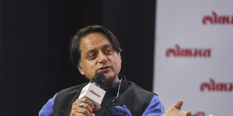 Congress leader Shashi Tharoor gestures as he speaks during the Lokmat National Conclave in New Delhi Tuesday Dec. 10 2019. (Photo | PTI)