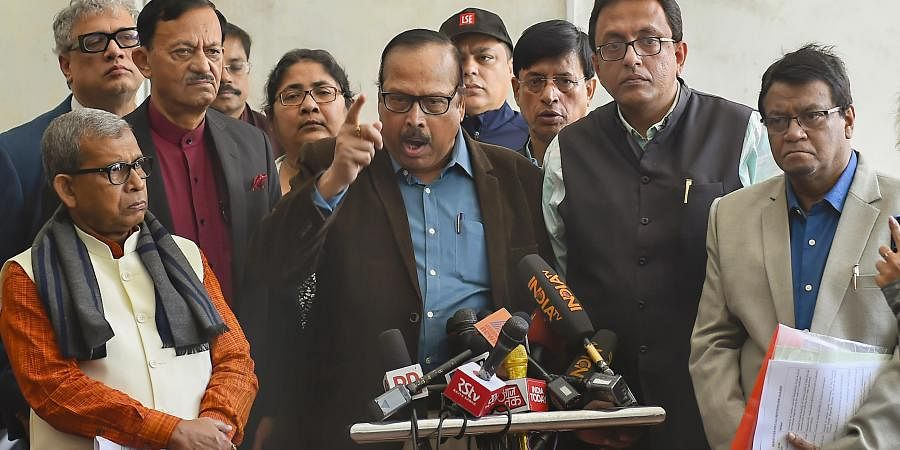 TMC members address the media at Parliament House during the ongoing Winter Session in New Delhi Tuesday Dec. 10 2019. (Photo | PTI)