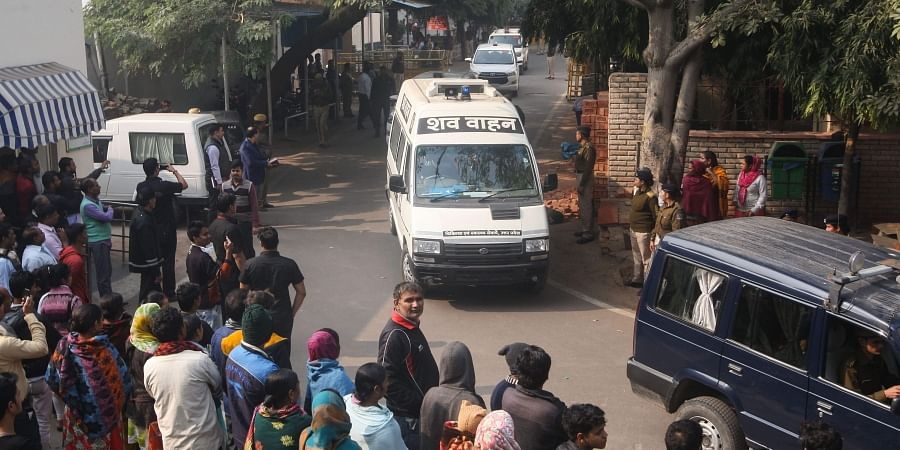 Unnao rape case victim's body being taken away after the post-mortem at Safdarjung hospital in New Delhi Saturday Dec. 7 2019. (Photo | PTI)