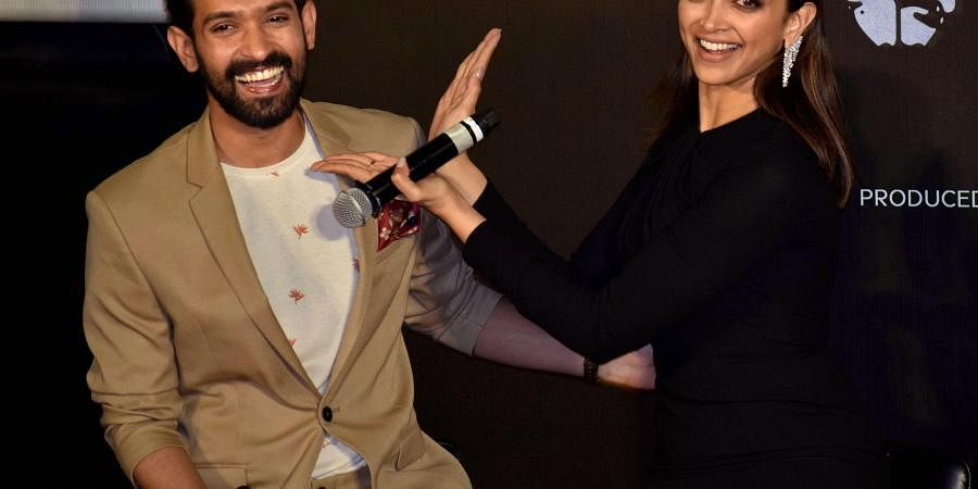 Bollywood actors Deepika Padukone and Vikrant Massey during trailer launch of their upcoming film 'Chhapaak' in Mumbai, Tuesday, Dec. 10, 2019.