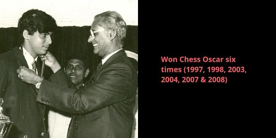 Then Tamil Nadu Governor PC Alexander presenting a gold medal to chess player Viswanathan Anand on behalf of the government of Tamil Nadu.