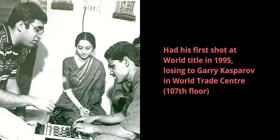 Grand Master Viswanathan Anand playing with a visually handicapped person. His wife Aruna is also seen.