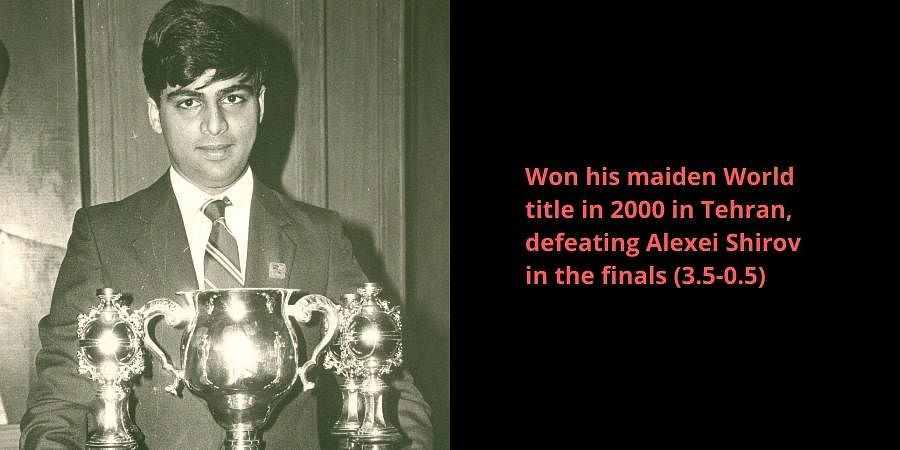 Grand Master Viswanathan Anand  with his trophy.