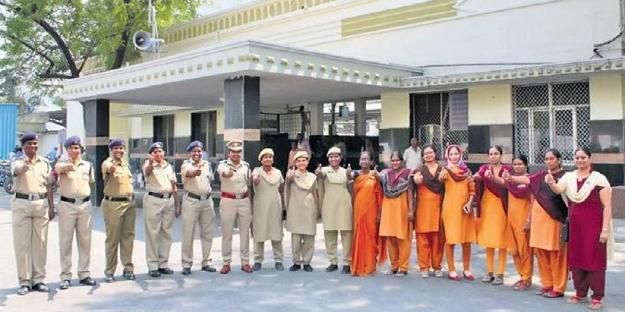 The all-woman team of Begumpet railway station strike a pose on Tuesday