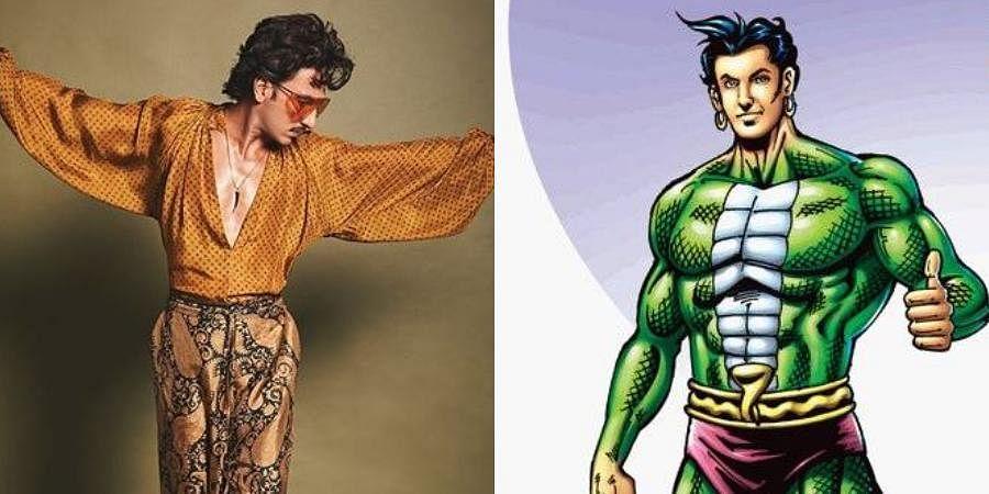 Ranveer Singh (L) and the comic book character 'Nagraj' (R).