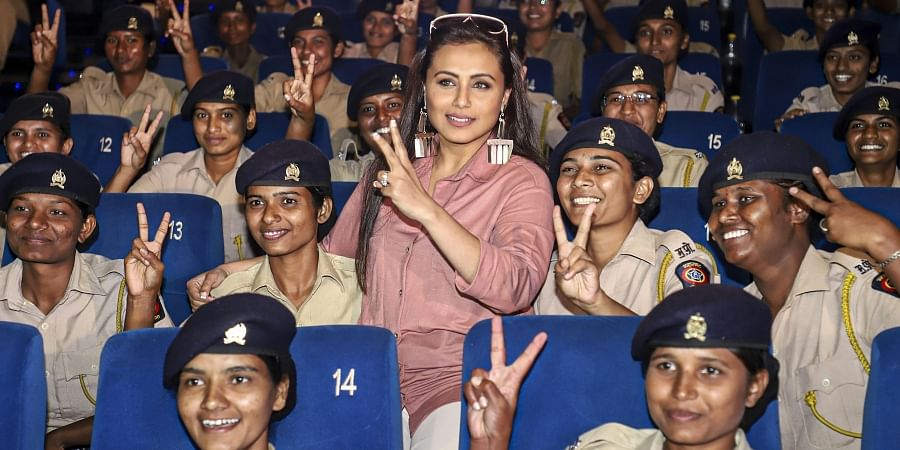Bollywood actor Rani Mukerji poses with police women during promotion of the film Mardaani 2 at Nariman Point in Mumbai Wednesday Dec 11 2019.