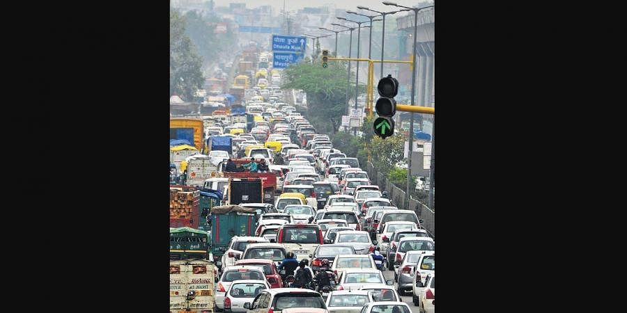 Vehicles entering the city from other states add to commuters' problems.