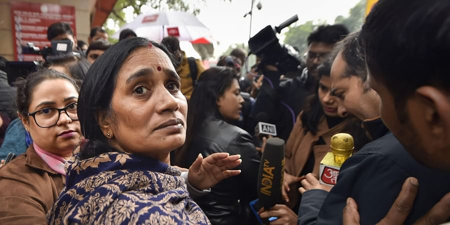 Nirbhaya rape case victim's mother outside the Patiala House Court in New Delhi Friday Dec. 13 2019. (Photo   PTI)