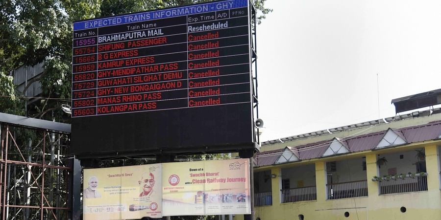 An electronic displays at Guwahati railway station show a list trains which were cancelled due to anti-Citizenship Amendment Bill protest in Guwahati Saturday Dec. 14 2019. (Photo | PTI)