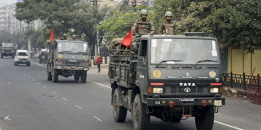 Indian army conduct flag march on the second day of curfew imposed by authorities following anti-citizenship amendement bill CAB protests in Guwahati Friday Dec. 13 2019. (Photo | PTI)