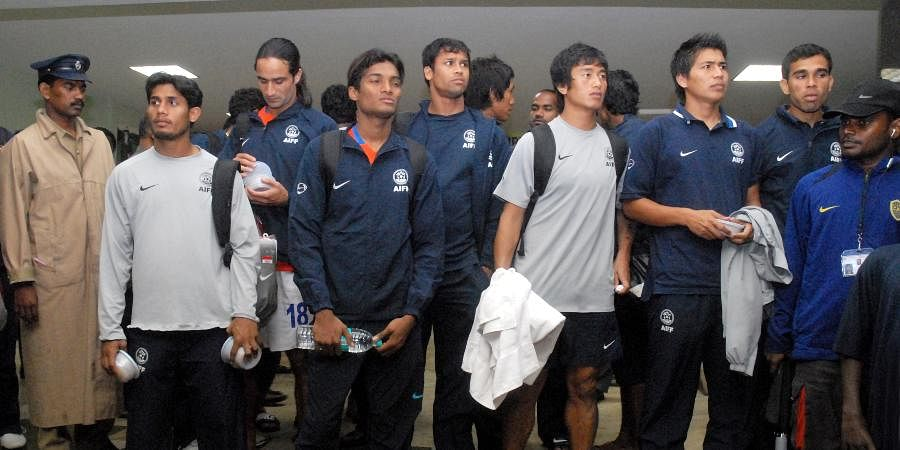 Then Indian football team captain Bhaichung Bhutia (Fourth from right) seen along with his team members in Jawaharlal Nehru Statium as it was announced that the match of the 2010 Football qualifying match of India and Lebanon abandond in Chennai.