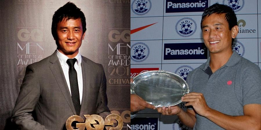 Bhaichung Bhutia receives plaque during an event in New Delhi. Bhutia announced his retirement from the international football (R) and him holding the GQ Excellence Award during the third Anniversary of the Men of the Year Awards in Mumbai.