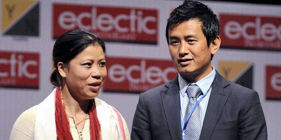 Boxer Mary Kom and footballer Bhaichung Bhutia during third edition of the Young Leaders Connect 2013.