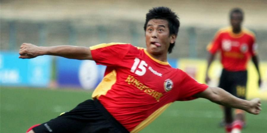 Then East Bengal striker Bhaichung Bhutia plays against the JCT in a match of the third ONGC I-League in Kolkata.