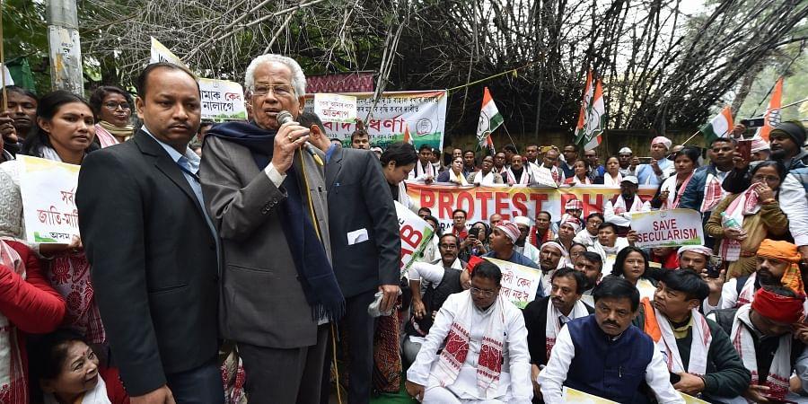 Former Assam chief minister Tarun Gogoi speaks during a protest against Citizenship Amendment Bill CAB at Jantar Mantar in New Delhi Friday Dec. 13 2019. (Photo | PTI)