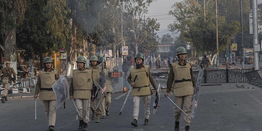 Assam police women patrol during a curfew in Gauhati, India, Thursday, Dec. 12, 2019. (File   AP)