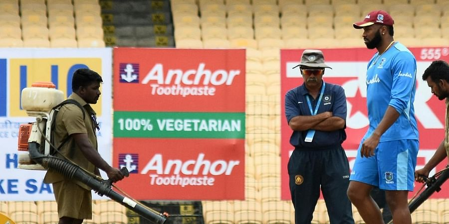 West Indies team captain Kieron Pollard on the picth at MA Chidambaram Stadium in Chennai for their first ODI against India. (Photo | Ashwin Prasath/EPS)