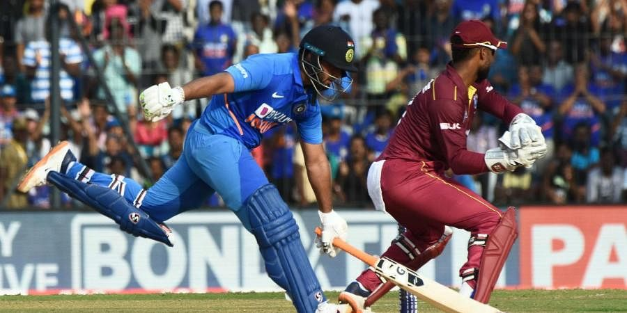 India's Rishabh Pant, left, during the international cricket match between India and West Indies in Chennai on December 15, 2019.