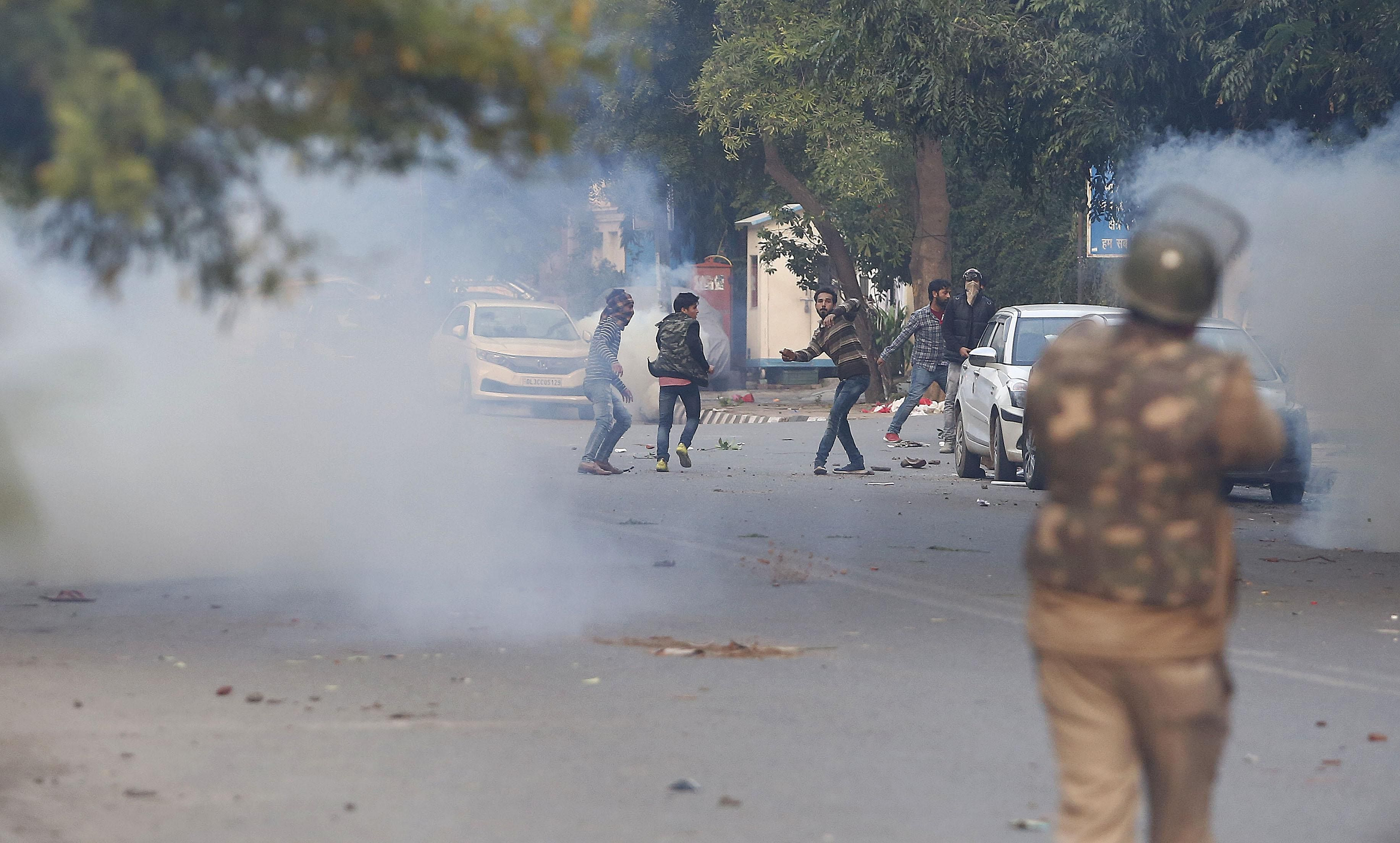 Delhi Police resort to firing teargas shells and later entered the Jamia university campus in search of those who might have sneaked there, leading to panic among the residents. Till late evening, Jamia Nagar resonated with loud bangs of teargas shells fired by police to push back the protestors.