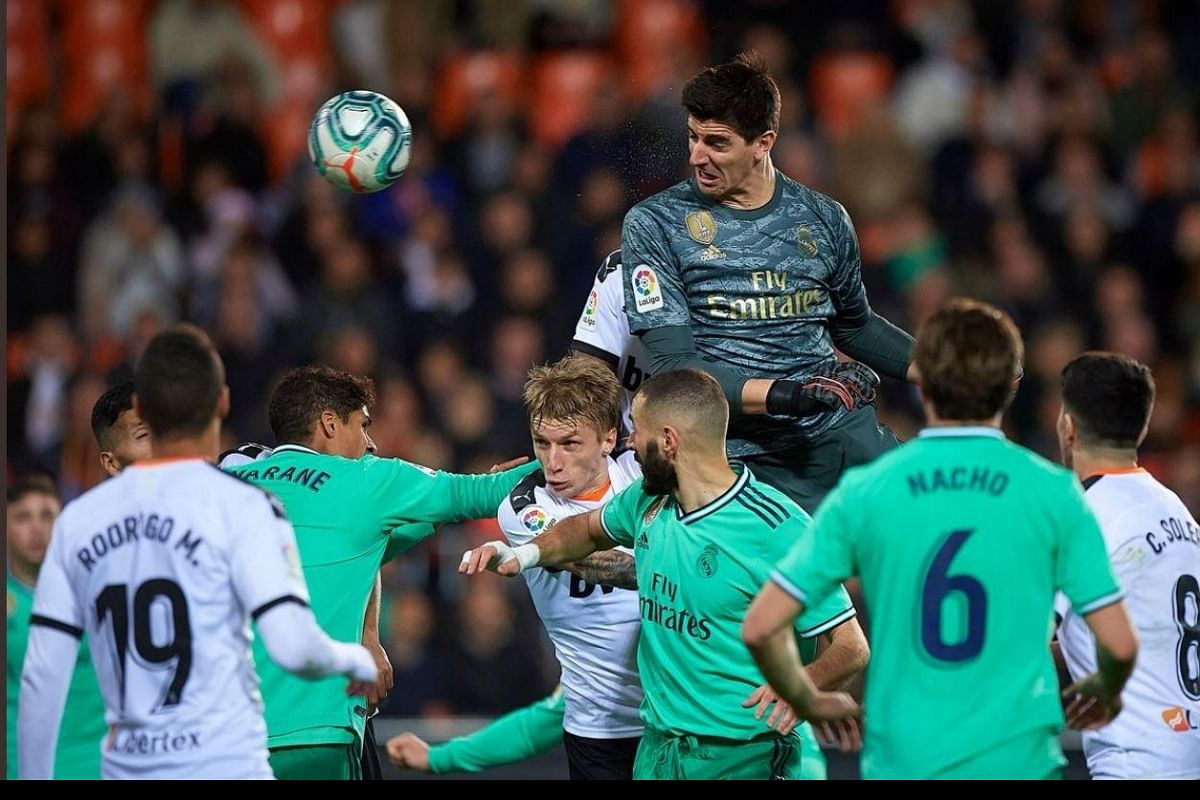 WATCH | Fans go crazy as goalkeeper Thibaut Courtois header sets up extra-time goal to save Real Mad- The New Indian Express