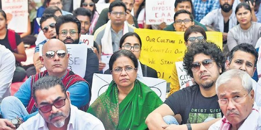 Actors and other Assamese people protest against the CAA in Mumbai.