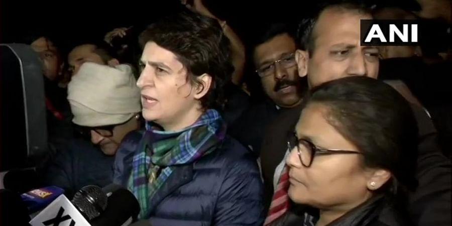 Priyanka Gandhi Vadra addressing the press after the protest at India Gate.