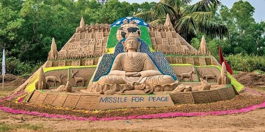 A sand sculpture created by artist Tuna Behera at ITR, Chandipur