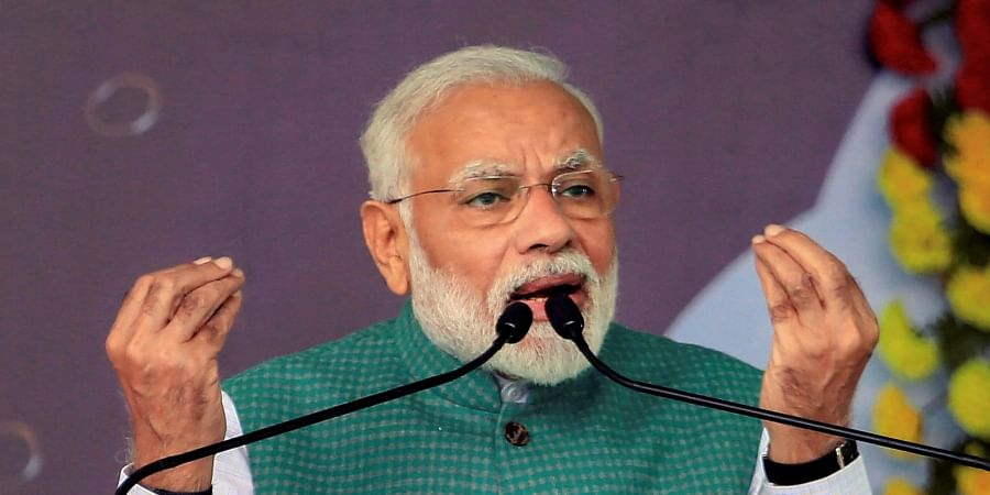 Prime Minister Narendra Modi addresses an election campaign rally ahead of fifth phase State Assembly elections 2019 in Dumka Jharkhand Sunday Dec. 15 2019. (Photo   PTI)