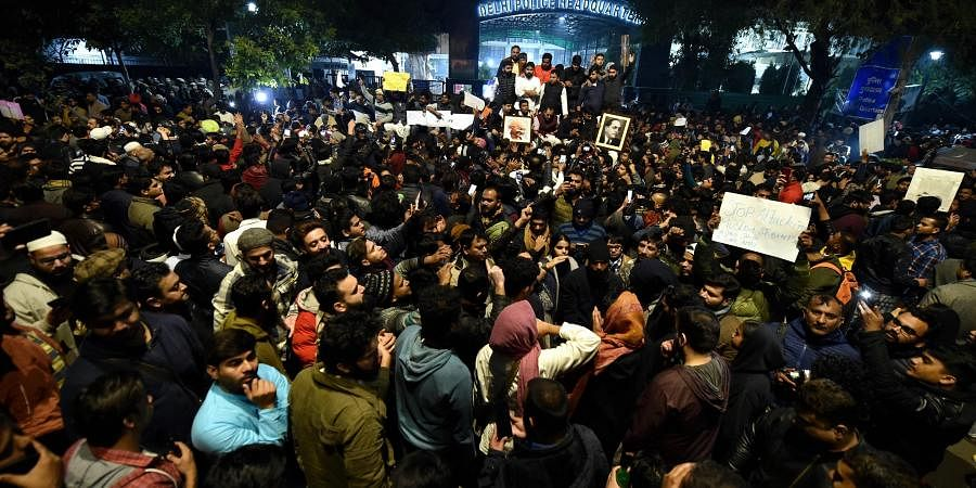 Students and other protest against the police action against students of the Jamia Millia Islamia University. at PHQ in New Delhi. (Photo | PTI)