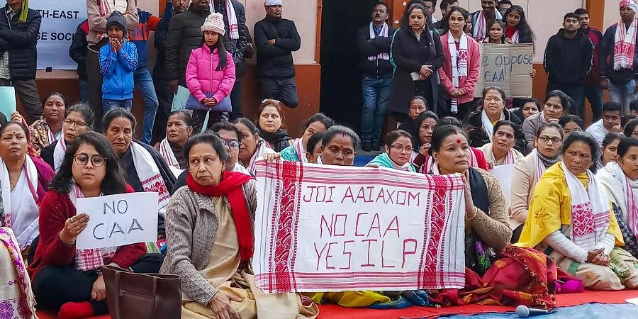 Assamese people take part in a protest against the Citizenship Amendment Act 2019 in Shillong Monday Dec. 16 2019. (Photo   PTI)