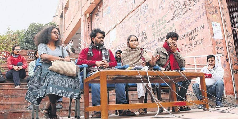 JNUSU president Aishe Ghosh along with other students addresses the media at JNU campus