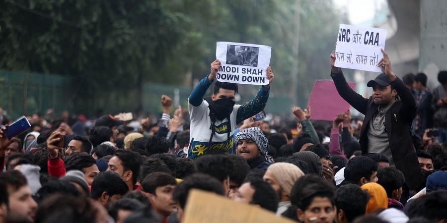 Jamia Millia Islamia university Students gather for a protest against the Citizenship Amendment Act and Sundays alleged police crackdown in the University in New Delhi on Monday December 16 2019. (Photo | Shekhar Yadav/EPS)