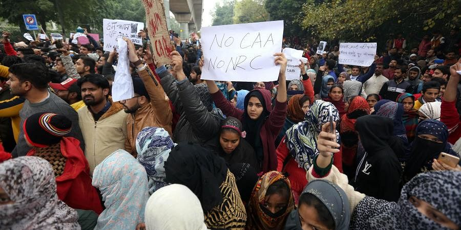 Jamia Millia Islamia university Students gather for a protest against the Citizenship Amendment Act CAA and Sundays alleged police crackdown in the University in New Delhi on Monday December 16 2019. (Photo | Shekhar Yadav/EPS)