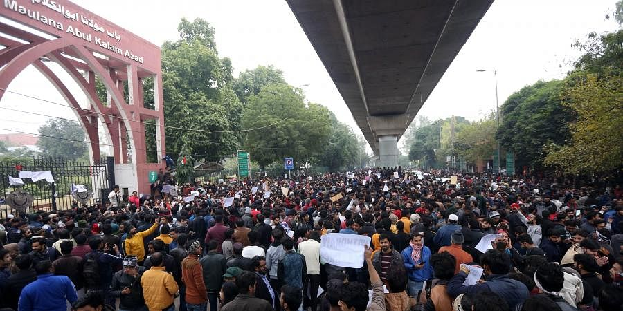 Jamia Millia Islamia university Students gather for a protest against the Citizenship Amendment Act and Sunday's alleged police crackdown in the University in New Delhi on Monday December 16 2019. (Photo   Shekhar Yadav/EPS)