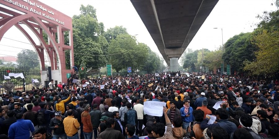 Jamia Millia Islamia university Students gather for a protest against the Citizenship Amendment Act and Sunday's alleged police crackdown in the University in New Delhi on Monday December 16 2019.