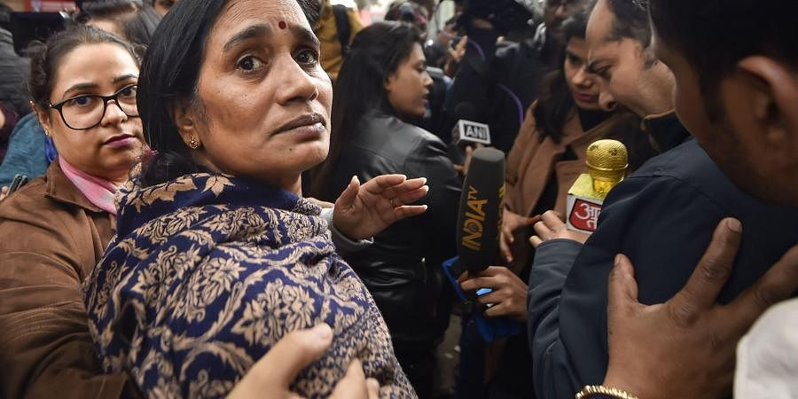 Nirbhaya rape case victim's mother outside the Patiala House Court in New Delhi Friday Dec. 13 2019. (Photo | PTI)