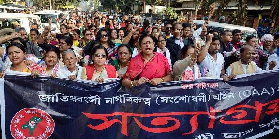 Activists of All Assam Students Union AASU along with members of different organizations during the 2nd day of their 'Satyagraha' protest demanding withdrawal of the Citizenship Amendment Act 2019 CAA in Guwahati Tuesday Dec. 17 2019.