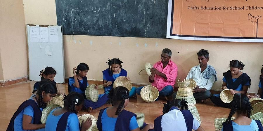 An image of a classroom activity at an AP municipal school used for representational purposes.