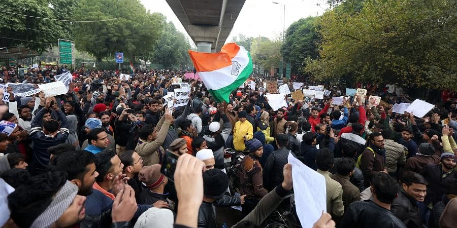 Jamia Millia Islamia university Students gather for a protest against the Citizenship Amendment Act and Sunday's alleged police crackdown in the University in New Delhi on Monday December 16 2019. (Photo | Shekhar Yadav/EPS)