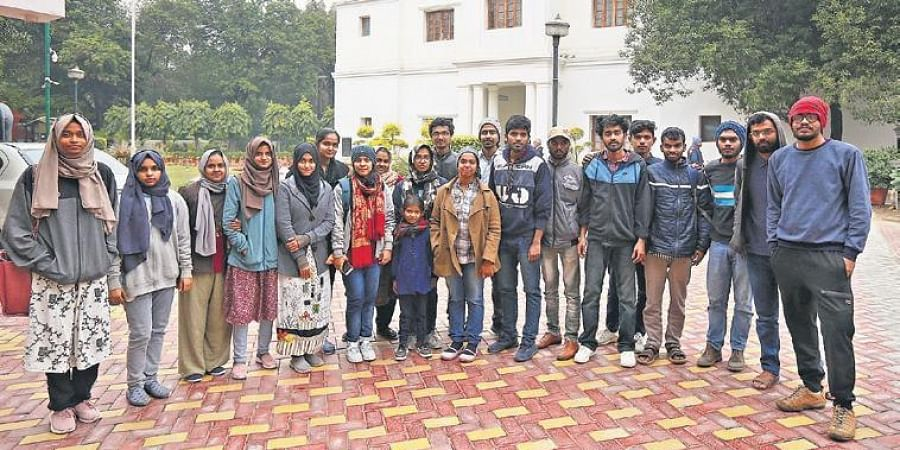 A group of Aligarh Muslim University and Jamia Millia Islamia students who have been living at Kerala House, on Tuesday.